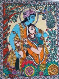 Handmade Mandhubani Painting- Radha Krishna by Archana, Folk Painting, Acrylic on Canvas, Cameo color