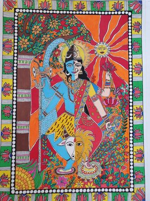 Handmade Mandhubani Painting- Ardhnageshwer by Archana, Folk Painting, Acrylic and Pen on paper, Beaver color