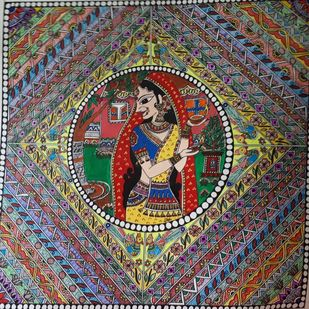 Handmade Mandhubani Painting- Tulsi Pujan by Archana, Folk Painting, Acrylic and Pen on paper, Masala color