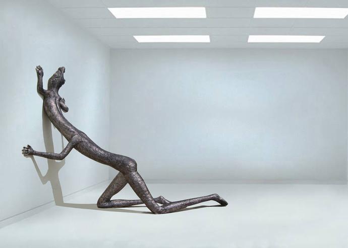 Metamorphosis by Jayanta Bhattacharya, Art Deco Sculpture   3D, Fiber Glass, Loblolly color