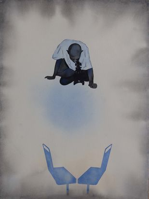 IN Transition XII by Manish Sutaar, Conceptual Painting, Watercolor on Paper, Gray color