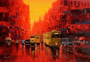 First Light in Kolkata by Purnendu Mandal, Expressionism Painting, Oil on Canvas, Coffee Bean color