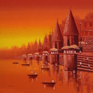 Banaras Ghat - 3 by Reba Mandal, Impressionism Painting, Oil on Canvas, Orange Roughy color