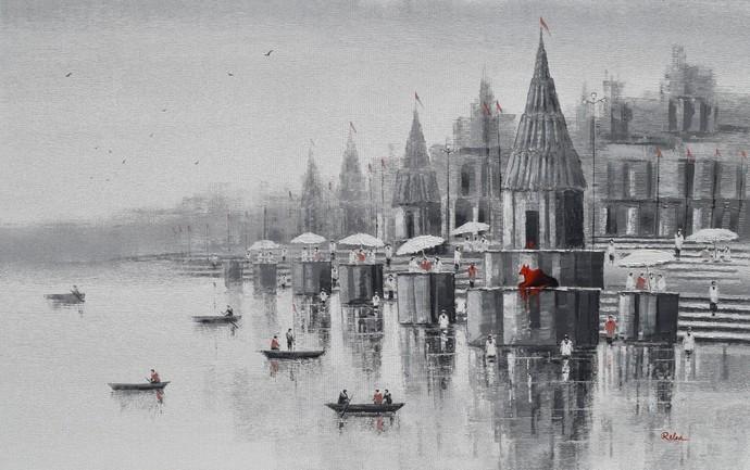 Banaras Ghat 4 By Reba Mandal