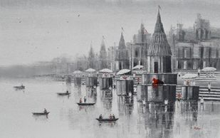 Banaras Ghat - 4 by Reba Mandal, Impressionism Painting, Acrylic on Canvas, Bombay color