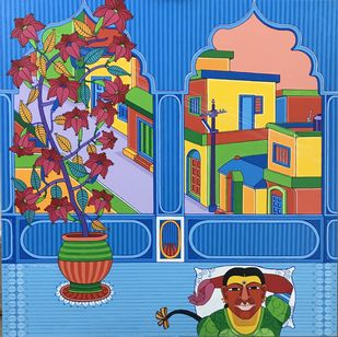 Bungalow by Thota Laxminarayana, Expressionism Painting, Acrylic on Canvas, Tumbleweed color