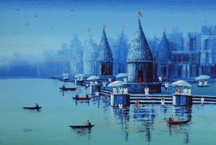 Banaras Ghat - 1 by Reba Mandal, Impressionism Painting, Acrylic on Canvas, Cerulean Frost color