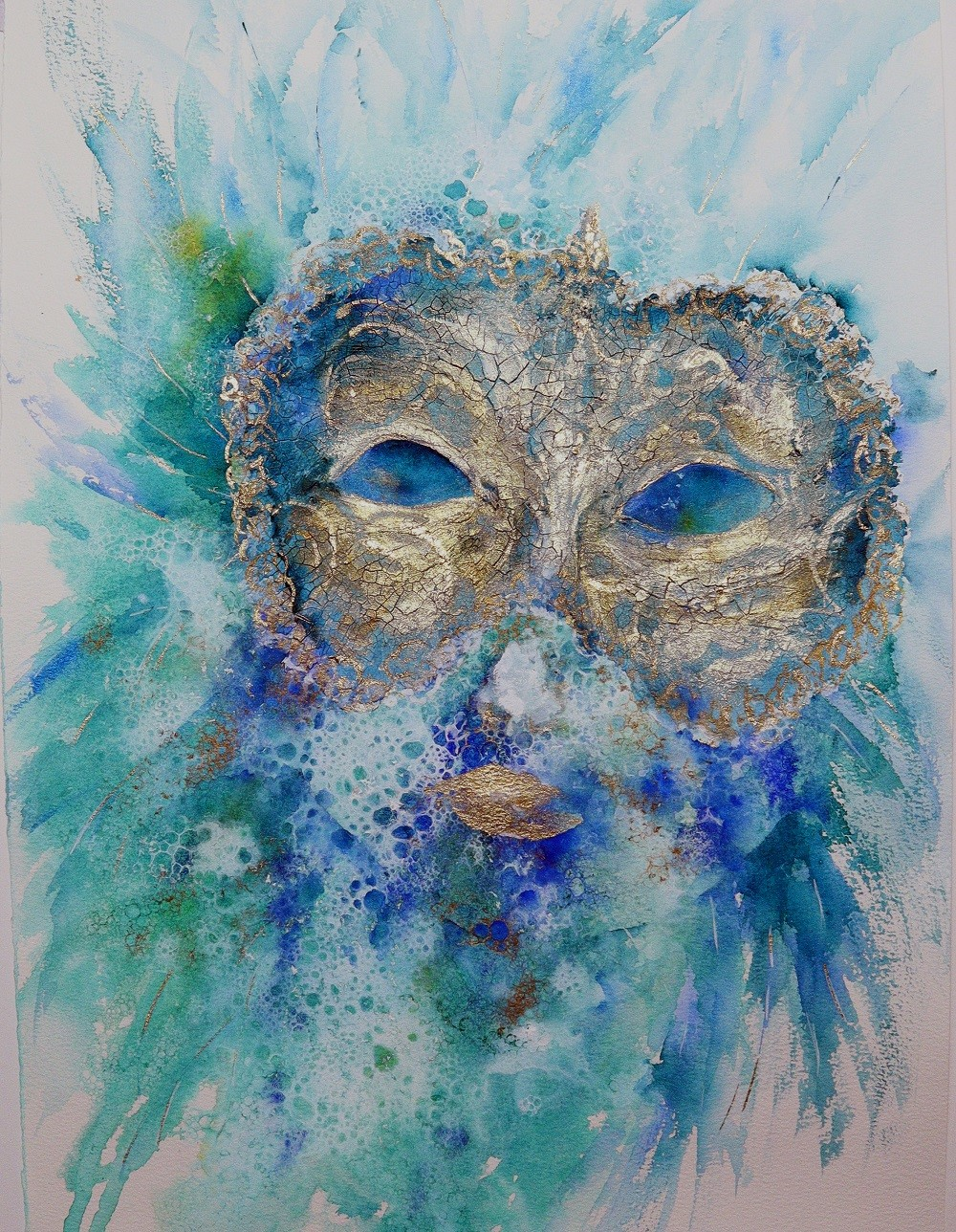 Colombina by Nisha Sehjpal, Expressionism Painting, Watercolor on Paper, Granny Smith color