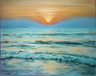Sunset at bhogwe beach ,konkan by Dipali Samant , Expressionism Painting, Oil on Canvas Board, Granny Smith color