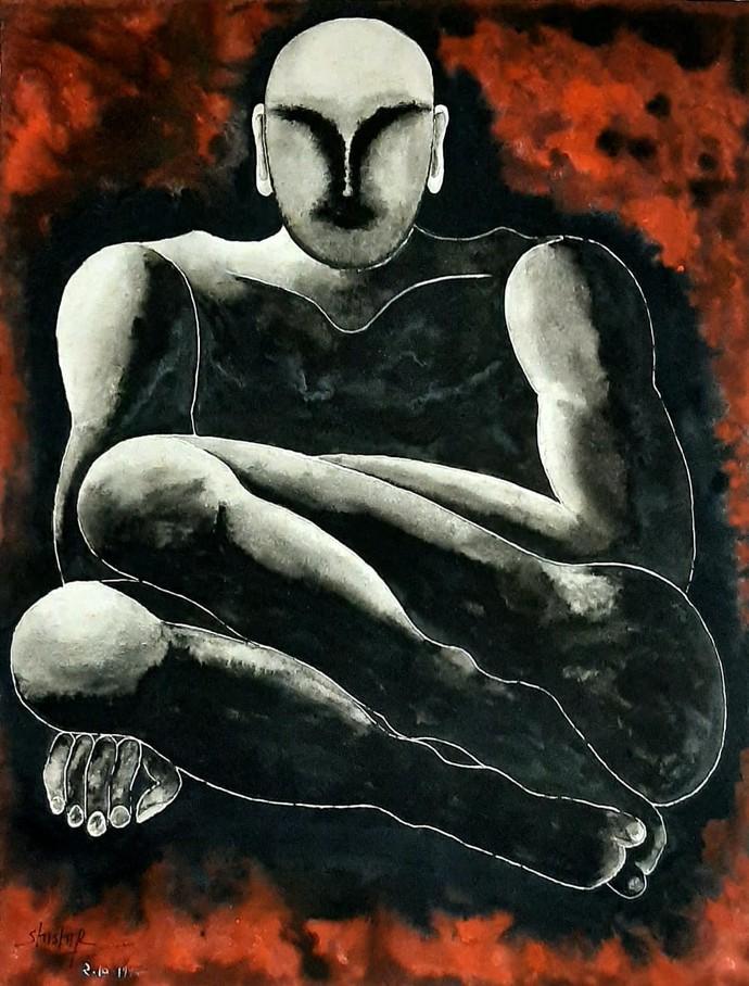 Aazaad Bharat Ke Kaidi by Shishir Pandey, Expressionism Painting, Watercolor on Board, Heavy Metal color