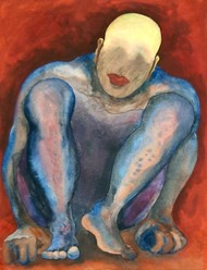 Kaid by Shishir Pandey, Expressionism Painting, Watercolor on Board, Spicy Mix color