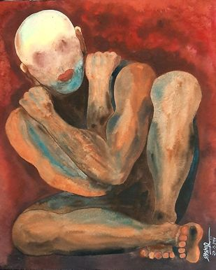 Depression by Shishir Pandey, Expressionism Painting, Watercolor on Board, Ironstone color