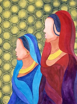 Sisters by Shishir Pandey, Expressionism Painting, Watercolor on Board, Laser color