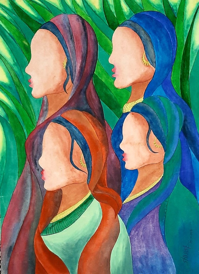 Sisters by Shishir Pandey, Expressionism Painting, Watercolor on Board, Tumbleweed color