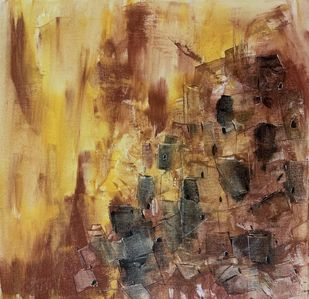 Cityscape by Amit Pithadia, Abstract Painting, Acrylic on Canvas, Limed Oak color