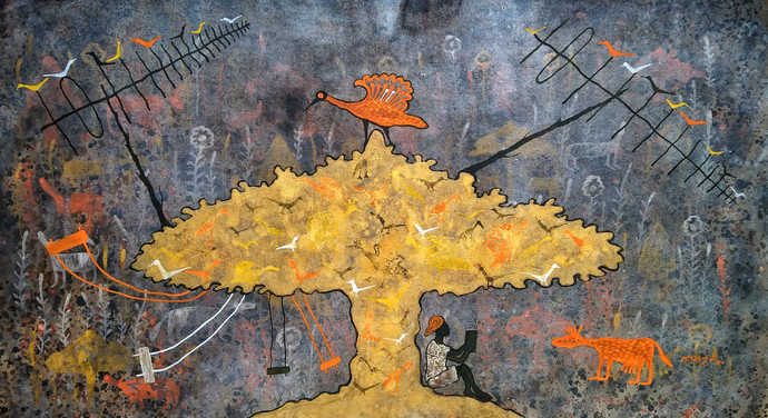 from village to the virtual world by Lakhan Singh Jat, Expressionism Painting, Acrylic on Canvas, Flint color