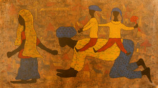 golden memories by Lakhan Singh Jat, Expressionism Painting, Acrylic on Canvas, Desert color
