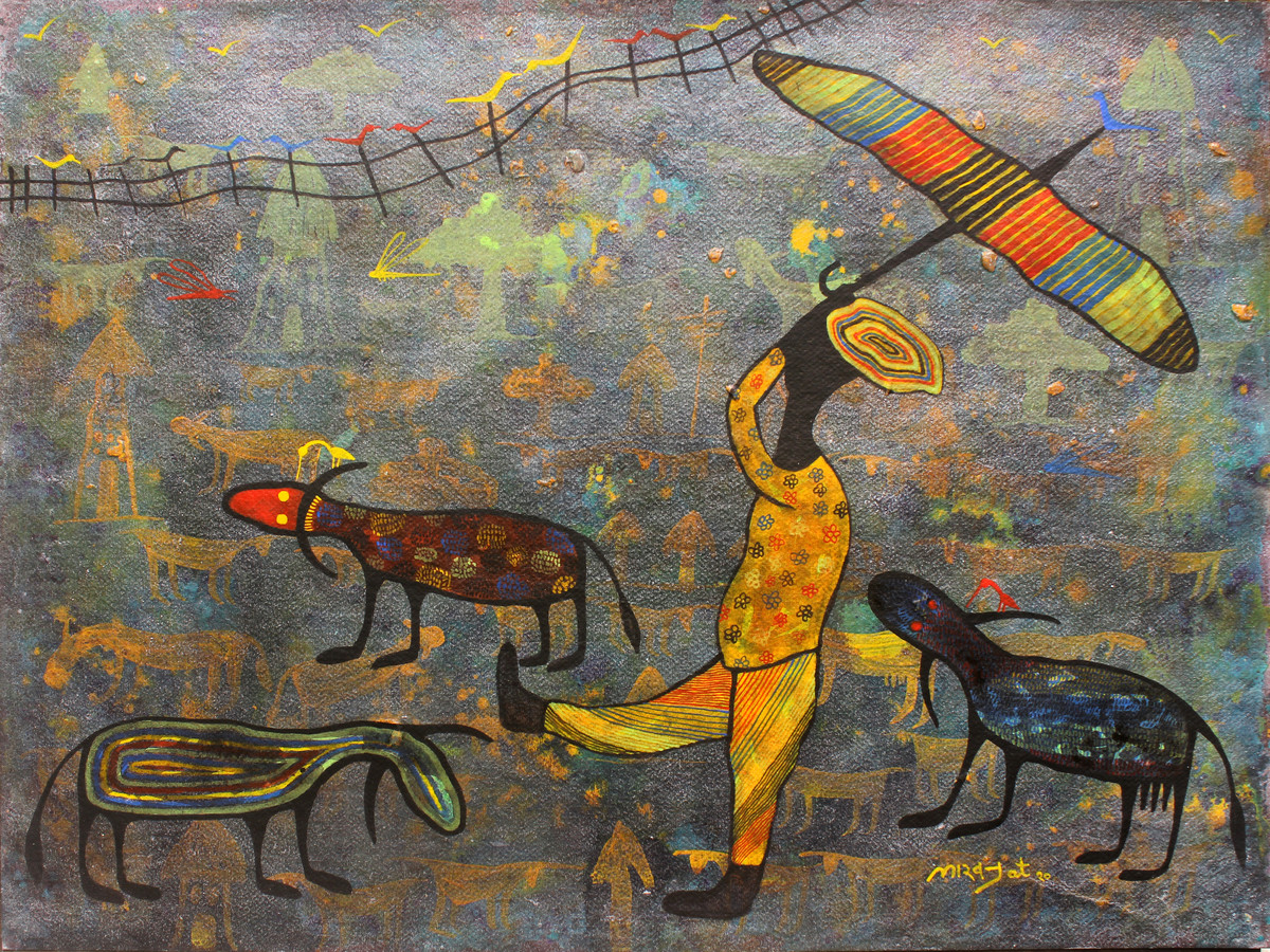golden memories by Lakhan Singh Jat, Expressionism Painting, Acrylic on Paper,