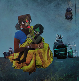 Mother and child by sharath kumar , Expressionism Painting, Acrylic on Canvas,