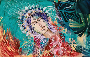 The Reflective Goddess by Poornima Dayal, Expressionism Painting, Acrylic on Canvas, Eunry color