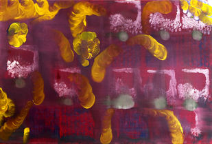 Growth by Poornima Dayal, Abstract Painting, Oil on Canvas, Buccaneer color