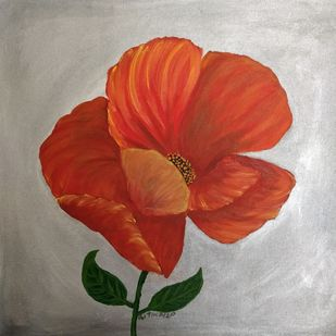 California Poppy Flower by Gitika Singh, Expressionism Painting, Acrylic on Canvas, Tide color