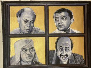 Chaturanga by Rajkumar Sarkar, Expressionism Painting, Acrylic on Canvas, Armadillo color