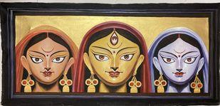 Trishakti by Rajkumar Sarkar, Expressionism Painting, Acrylic on Canvas, Dune color