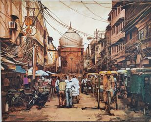 Jama Masjid by Sanjay Soni, Expressionism Painting, Acrylic on Canvas, Kabul color