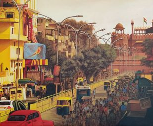 Old Delhi-I by Sanjay Soni, Expressionism Painting, Acrylic on Canvas, Roman Coffee color