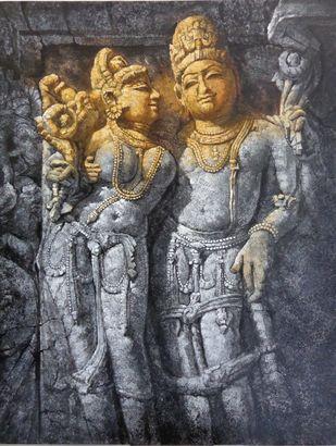 Khajuraho-I by Sanjay Soni, Expressionism Painting, Acrylic on Canvas, Gravel color