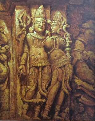 Khajuraho-II by Sanjay Soni, Expressionism Painting, Acrylic on Canvas, Tobacco Brown color