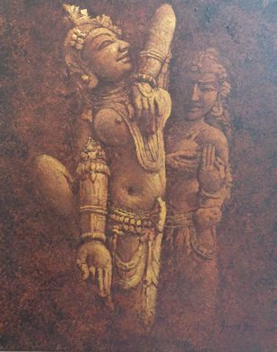 Khajuraho-III by Sanjay Soni, Expressionism Painting, Acrylic on Canvas, Russett color