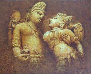 Khajuraho-IV by Sanjay Soni, Expressionism Painting, Acrylic on Canvas, Roman Coffee color