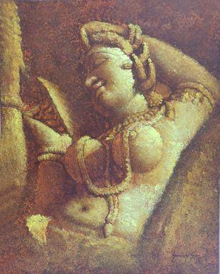 Khajuraho-V by Sanjay Soni, Expressionism Painting, Acrylic on Canvas, Roman Coffee color