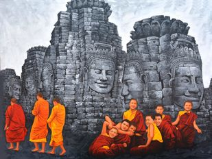 Monks by Sanjay Soni, Expressionism Painting, Acrylic on Canvas, Scarpa Flow color