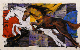 Horse Series-160 by Devidas Dharmadhikari, Expressionism Painting, Acrylic on Canvas, Woody Brown color