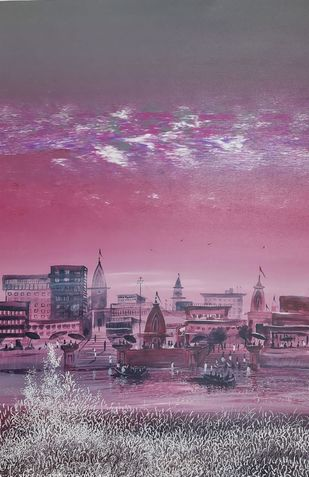 Banaras2 by Ashok Baldodia, Expressionism Painting, Acrylic on Canvas, Mountbatten Pink color