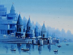 Banaras Ghat - 6 by Reba Mandal, Impressionism Painting, Oil on Canvas, Cerulean Frost color