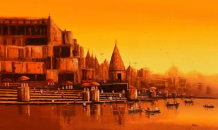 Banaras Ghat - 7 by Reba Mandal, Impressionism Painting, Acrylic on Canvas, Bulgarian Rose color