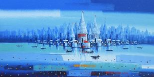 Banaras Ghat - 10 by Reba Mandal, Impressionism Painting, Acrylic on Canvas, Blue Jeans color