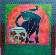 Blue cat by Anissha Deshpande, Expressionism Painting, Acrylic on Canvas, Casal color