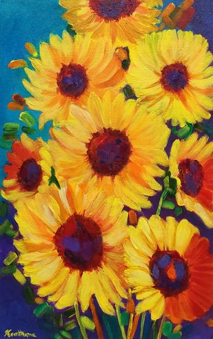Glory of sunflowers by Keerthana, Expressionism Painting, Acrylic on Canvas, Golden Grass color