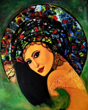Ana by Neha Jain, Expressionism Painting, Acrylic on Canvas, Log Cabin color