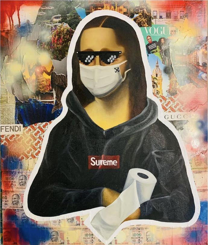 Monalisa During Lockdown by Shivansh Modi, Pop Art Painting, Mixed Media on Canvas, Onyx color