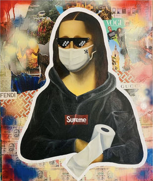 Monalisa During Lockdown by Shivansh Modi, Pop Art Painting, Mixed Media on Canvas, Onyx color