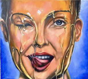 the sweet lady by Shivansh Modi, Pop Art Painting, Oil on Canvas, Antique Brass color