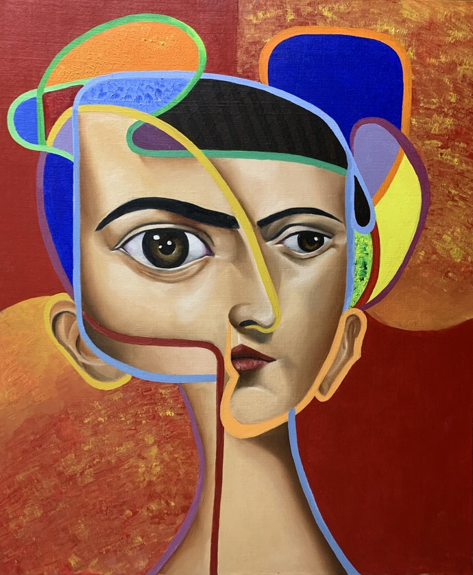 untitled by Shivansh Modi, Pop Art Painting, Mixed Media on Canvas, Mule Fawn color