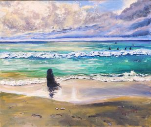 Sound of the ocean by Lasya Upadhyaya, Impressionism Painting, Acrylic on Canvas, Silver color