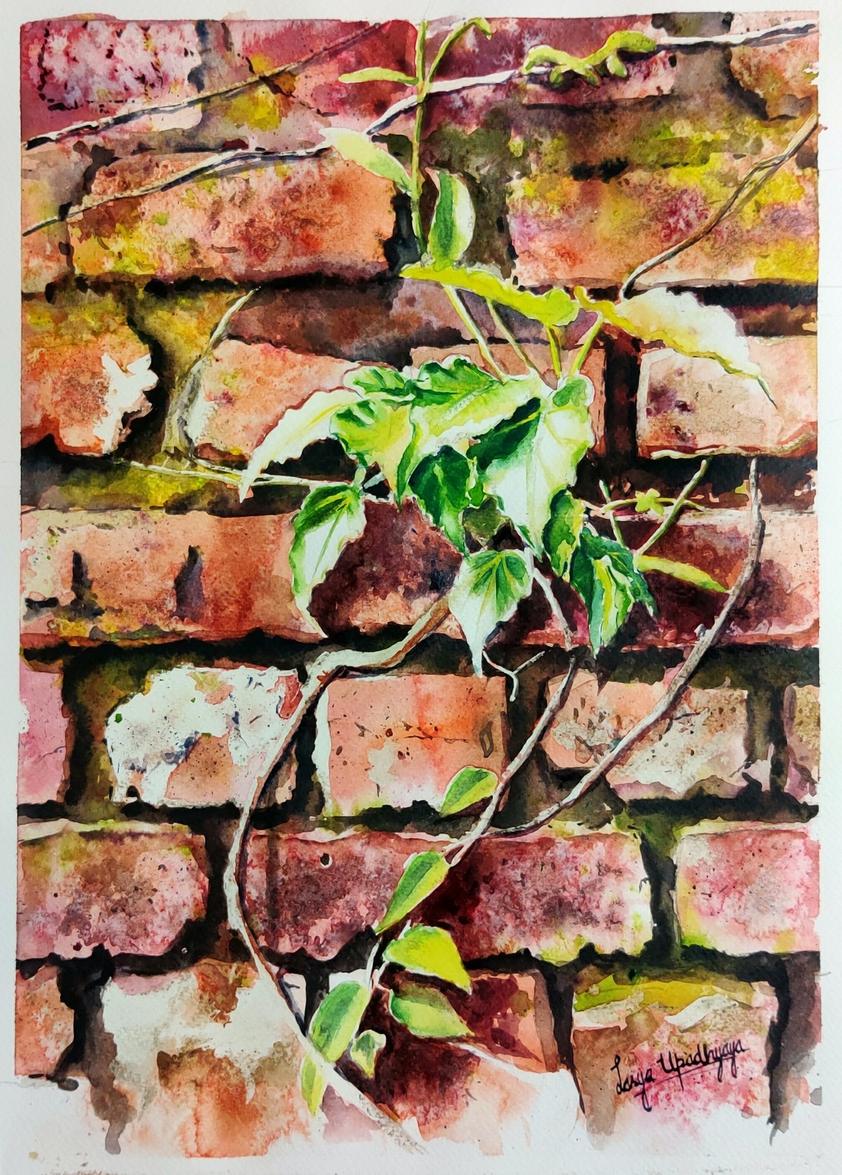 Life finds a way by Lasya Upadhyaya, Impressionism Painting, Watercolor on Paper, Brandy Rose color